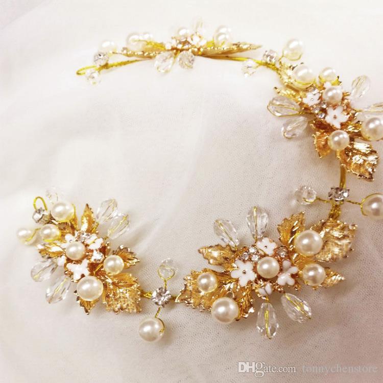 CHENLVXIE Boda de lujo Hoja de oro Matrimonio Tocado Hecho a mano Accesorios para el cabello elegante Tocado
