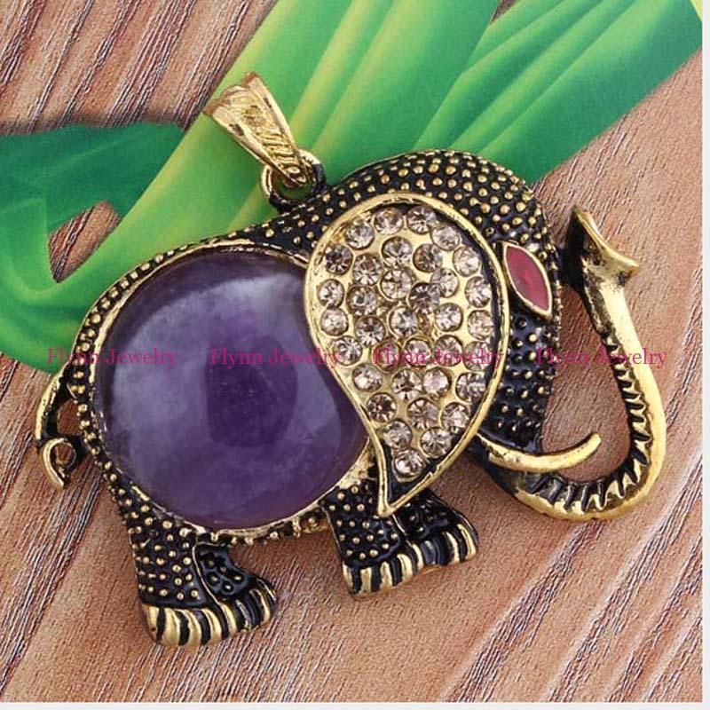 2016 Hot Charm Gold Plated Set Rhinestones Amethyst Natural Stone Beads Elephant Reiki Pendulum Pendant Charms Mascot Amulet Jewelry 10pcs