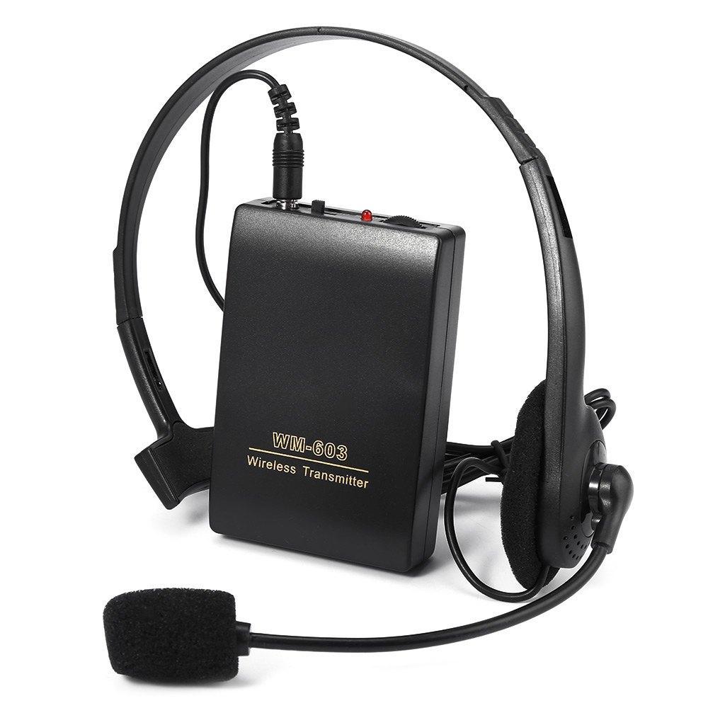 Nuovo TOPS WR-603 Microfono portatile Wireless FM Trasmettitore Ricevitore Lavalier Clip + Auricolare Microfono Set per Meeting Conferen