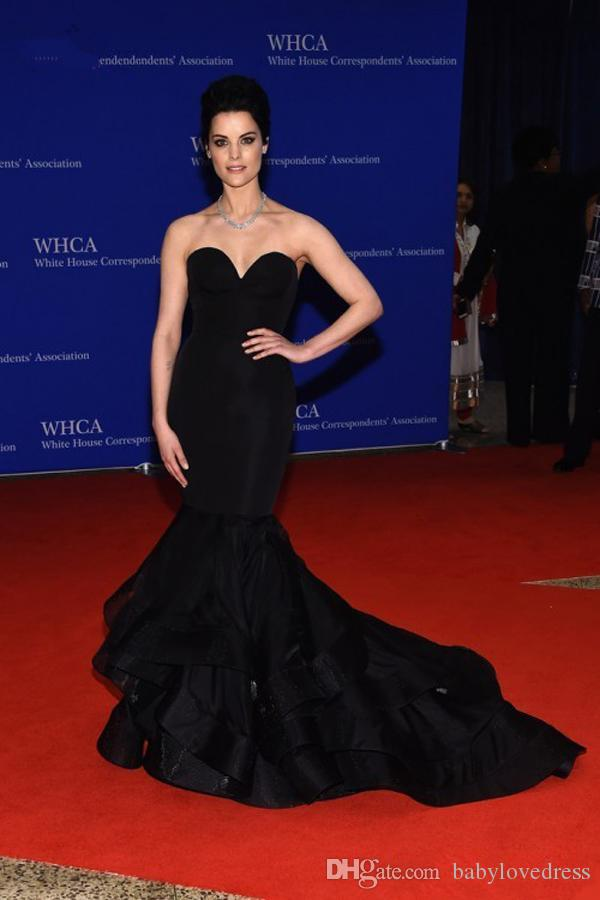 Classical Black Mermaid Dresses Evening Wear 2019 Sweetheart Open Back Tiered Celebrity Red Carpet Party Gowns
