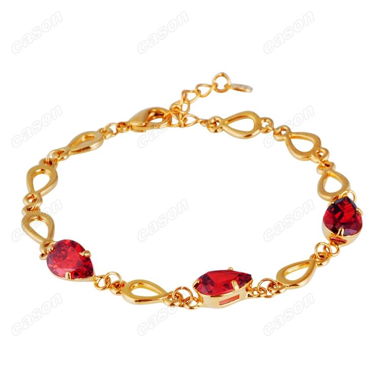 Brand Cason Ellegant Women Jewelry Splicing pear shaped crystal Charm Bracelet 18K Gold Plated Red colour Drop Shipping BRJ-0007