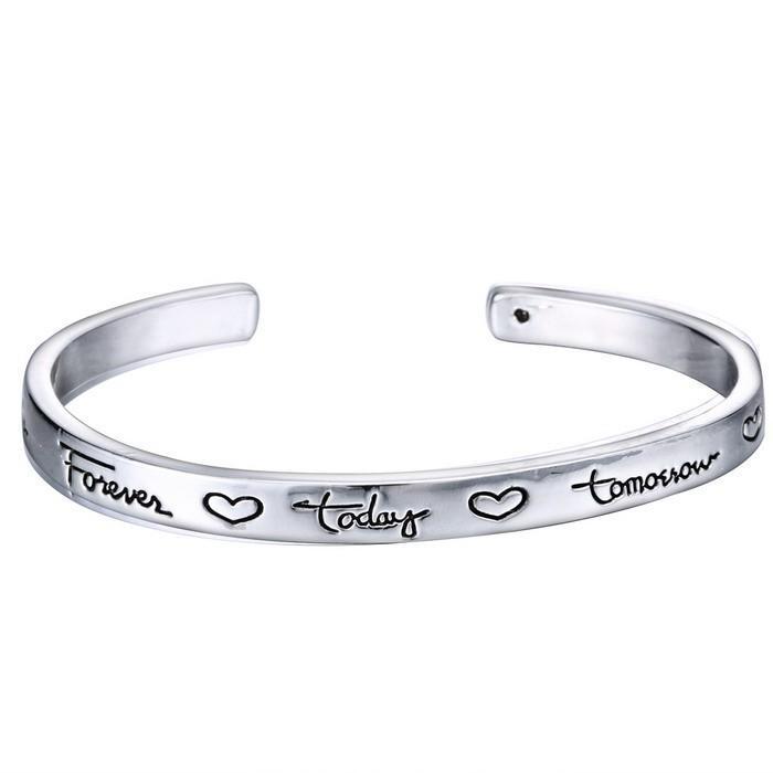Novo bracelete com letra inspirada original personalizado gravado bracelete presentes para amigos encantos de prata para sempre 2016 frete grátis