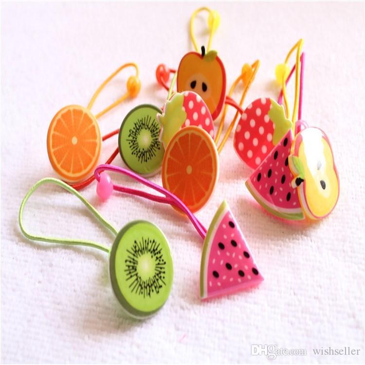 Nuovo bello coreano di colore della caramella dolce frutta cerchio dei capelli Elastico neonata Accessori per capelli elastico legame capo corda 50 Coppia