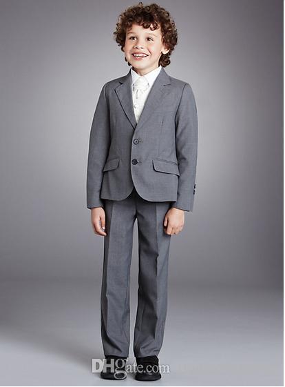 Tailored ragazzo fiore ragazza vestito picco bavero 2 bambini al giorno vestito pulsante grigio tre pezzi (cappotto + pantaloni + giacca) A1