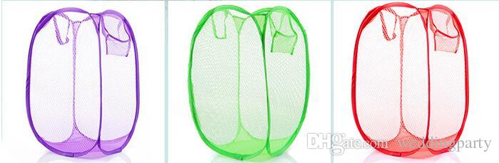 250pcs New Mesh Fabric Foldable Pop Up Dirty Clothes Washing Laundry Basket Bag Bin Hamper Storage for Home Housekeeping