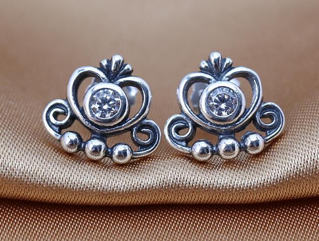 Orecchini in argento sterling 100% 925 con montatura in CZ trasparente per gioielli con charms in pandora DIY all'ingrosso 2016 NUOVI