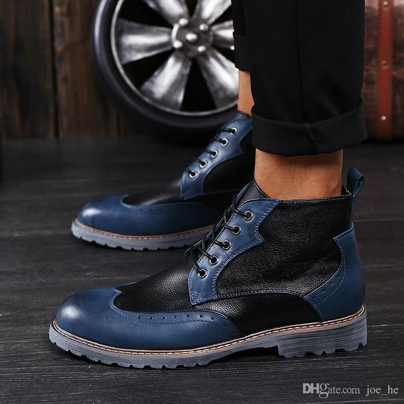 Brand Luxury Mens Dress Boots Genuine