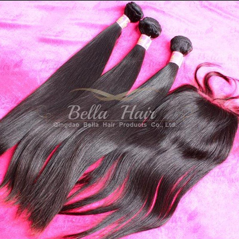 Brazylijskie ludzkie włosy splot z jedwabnym podstawowym koronkowym zamknięciem (3.5x4) jedwabisty prosty kolor naturalny 4 pc partia Darmowa wysyłka Bella Hair