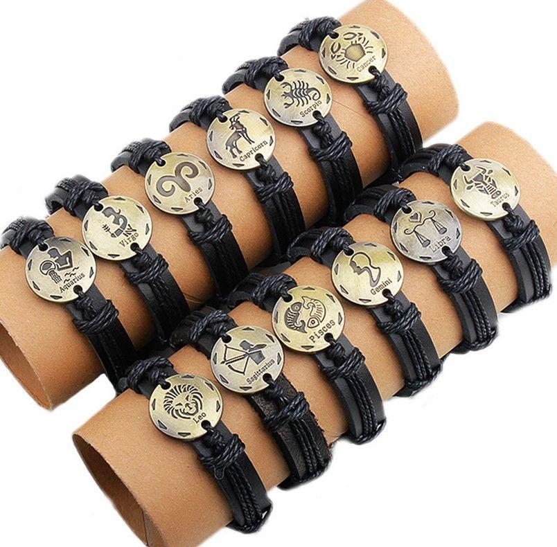 Free Shipping Wholesale mens/women Leather Bracelets hand-knitted bracelets zodiac gift virgo cancer scropio leo pisces arise gemini