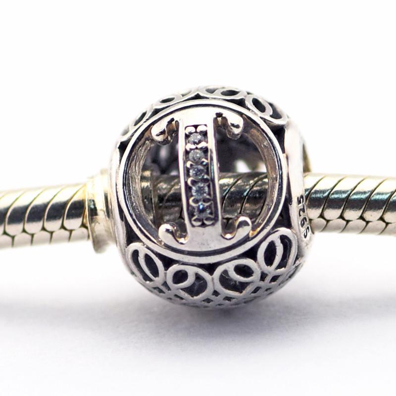 Vintage I Limpar CZ 09 100% 925 Sterling Silver Beads encantos Fit Pulseira Pandora Autêntico DIY moda jóias