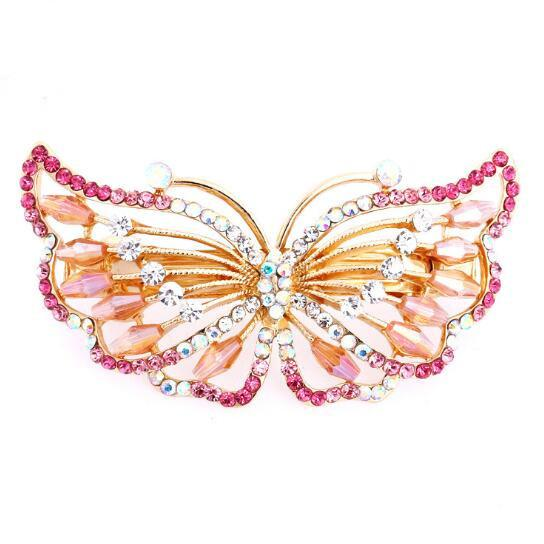 Rhinestone Hair Clips Wedding Beauty Women's Exquisite Butterfly Shaped Rhinestone Hair Accessories for Women Korea Barrette