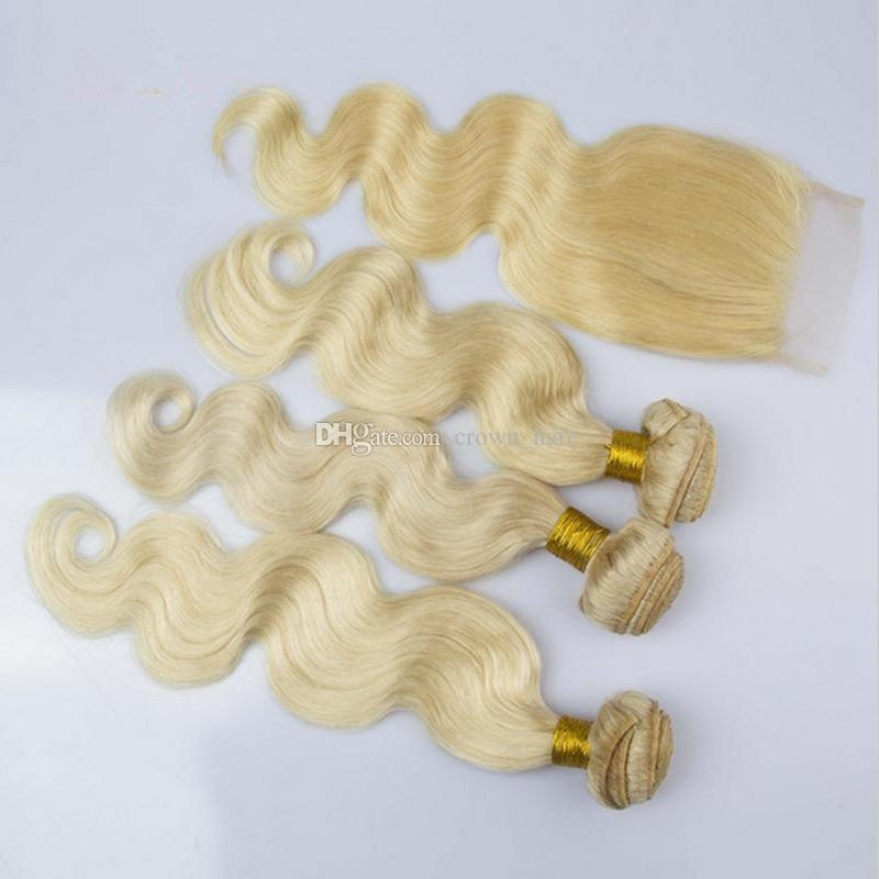 Körperwelle Hellblond # 613 Reine Farbe Haarbündel Mit Spitze Frontal 4 Teile / los Unverarbeitete 9A Brasilianische Haarwebarten