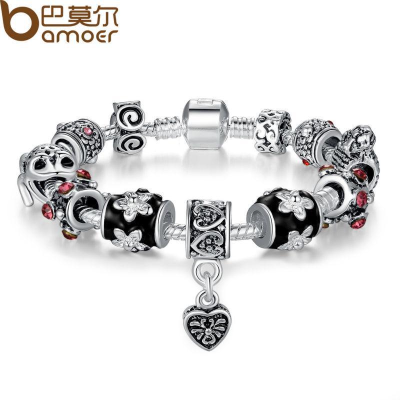 BAMOER Haute Qualité Européenne Tibétain Argent Perles Bracelets Bracelets avec Coeur Charme Bracelet DIY Bijoux PA1034
