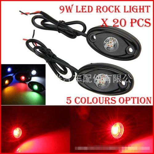 """20PCS (10 쌍) 3 """"9W 3x3W Cre LED 락 라이트 오프로드 ATV 4x4 트럭 트레일러 펜더 리거 하부 바디 팟 라이트 800lm 화이트 / 레드 / 블루 / G / Y"""