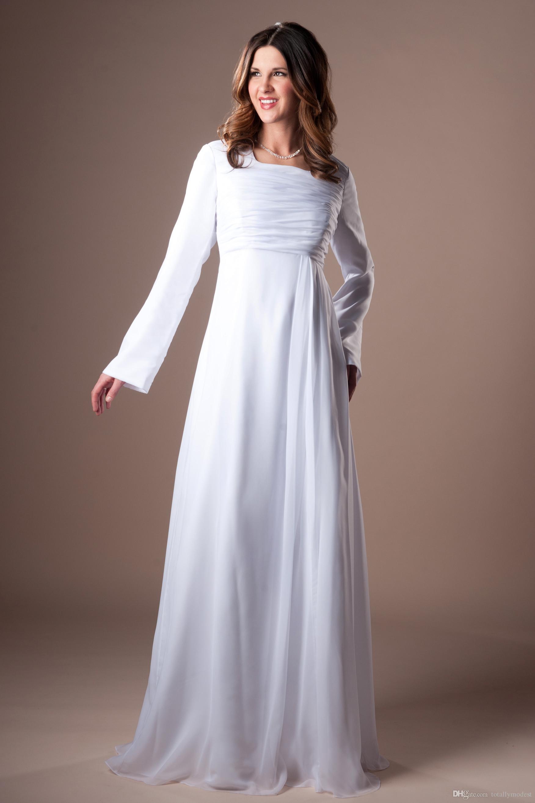 Long Sleeves와 긴 비공식시 폰 겸손한 웨딩 드레스는 비공식적 인 해변 사원 신부 가운 흰색 바닥 길이 리셉션 가운을 파헤 치다