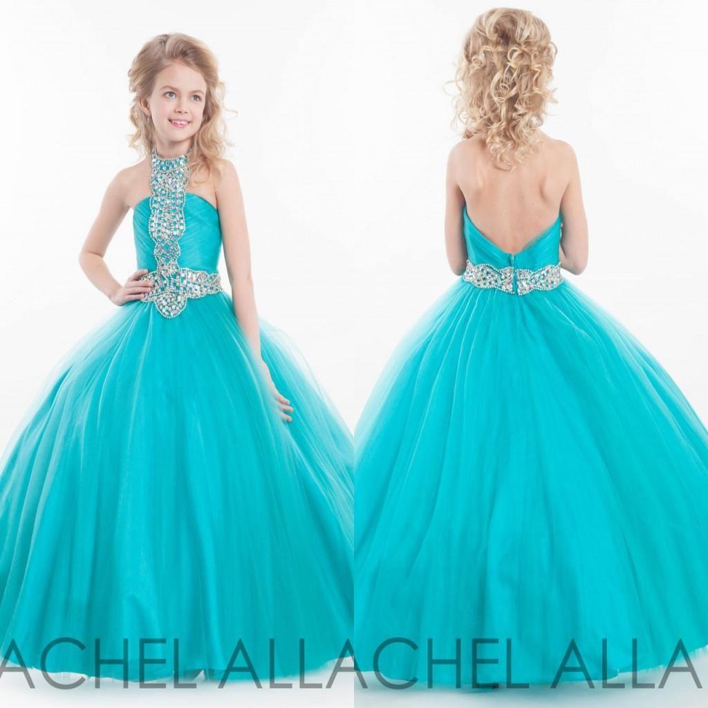 2016 Rachel Allen High Collar Flower Girl Dresses Glitz Beaded ...