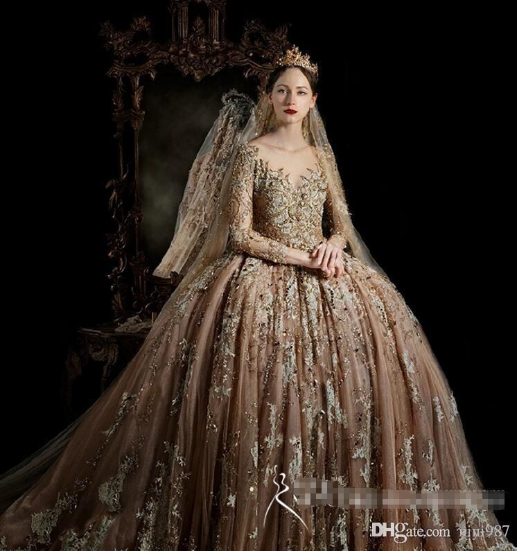 Party Dress Bridal Casa Reale maniche lunghe Vintage Wedding abiti di alta qualità grande abito di sfera Abiti da sposa in pizzo oro Vestido De Novia