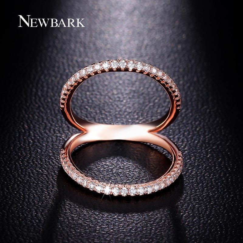 Newbark Klasyczne Kobiety Pierścień Double Circle Shell Shape Pierścienie Pierścienie Rose Gold Color CZ Biżuteria Mid Golckle Bague Ladies Q170720