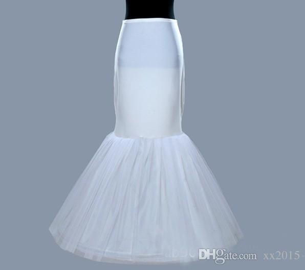 Entier Vente En Stock Plus Size One / 1 Hoop Petticoat Slip Crinoline Pour Robe De Mariée Sirène Underskirt Femmes