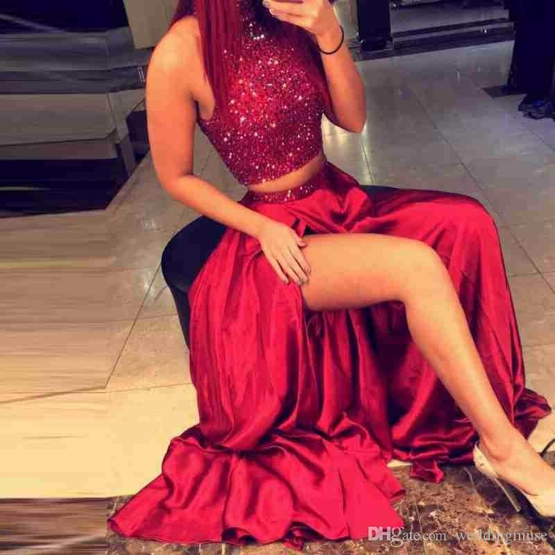 Two Pieces Sparkly Beading 2020 Red Evening Dress A-line High Side Slit Prom Gowns Custom Robe De Soiree
