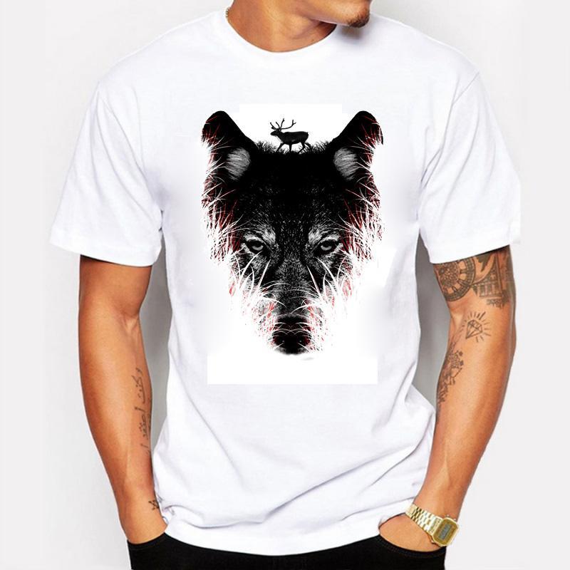 2016 Nuova Moda Estate T Shirt Uomo Stampa Foresta Lupo O-Collo Cotone Personalità Uomo T-Shirt Fitness Tshirt Homme Abbigliamento Uomo