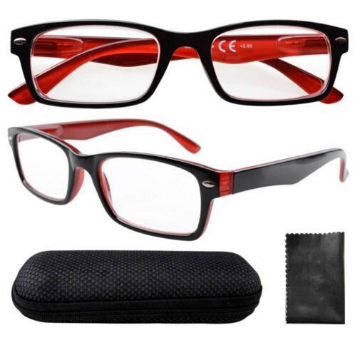 Commercio all'ingrosso unisex nero-rosso cerniere a molla metà-occhio di lettura di vetro con custodia + 0.0 / 1.0 / 1.5 / 2.0 / 2.5 / 3.0 / 3.5 / 4.0 spedizione gratuita