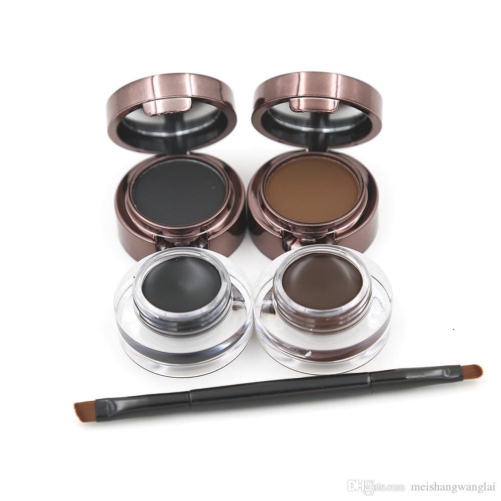 Ögonbrynpulver ögonbryn + eyeliner gel långvarig gel eyeliner brun med pensel 12st 2Color 24hours vattentät svett ögon panna m1096