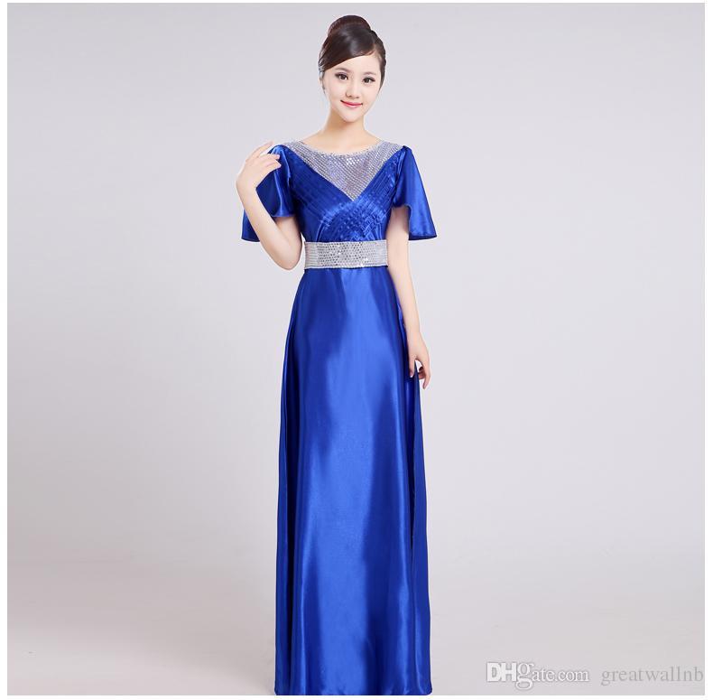 Lange Pailletten royalblau / pink / rot / lila Gemeinschaft singen Kleid / langes Kleid / Bühne Leistung / Chorus Kleid lange Pailletten