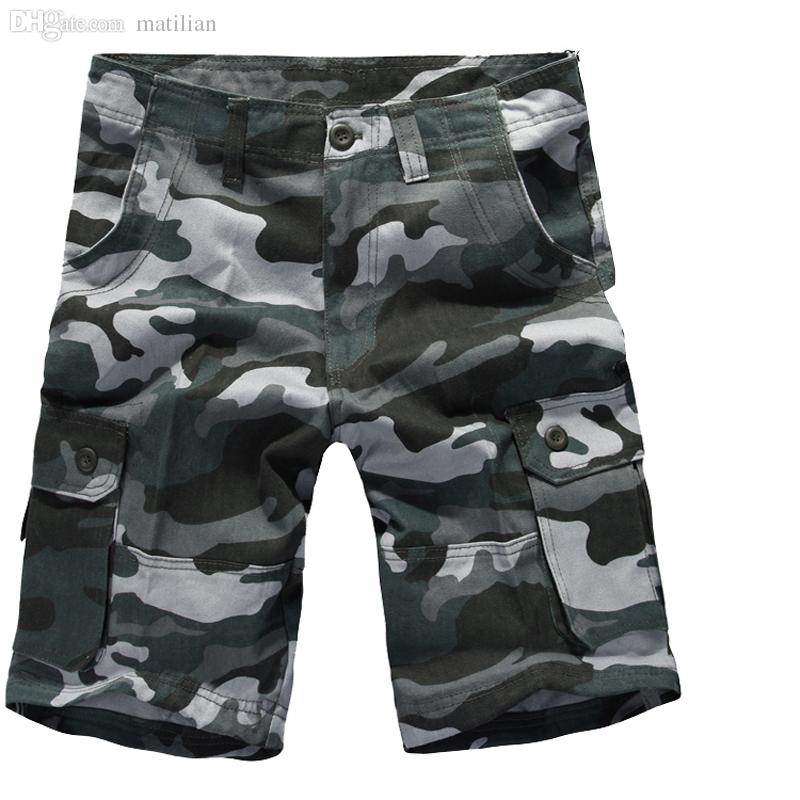 Groothandel-2016 Nieuwe Camouflage Shorts Mannen Army Camo Mens Cargo Shorts Losse Katoen Multi Pockets Overall Casual Short Plus Size