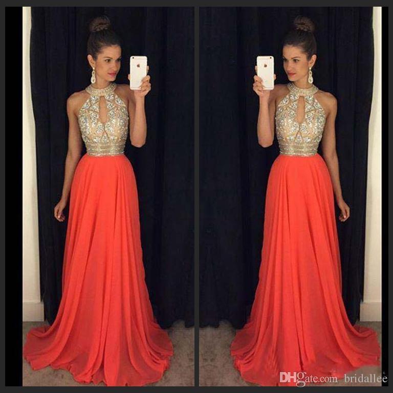 Kristall Prom Kleider 2016 High Neck Abendkleider Günstige Orange Chiffon Mit Perlen Formale Party Kleider Lange Abendkleid