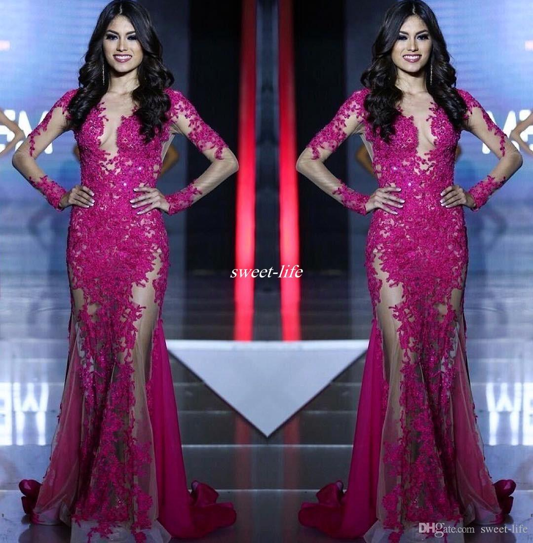 Miss World Pageant 2020 Evening Gown Illusion Long Sleeves See Through Sexy Sequins Lace Mermaid Party Dresses Prom Gowns