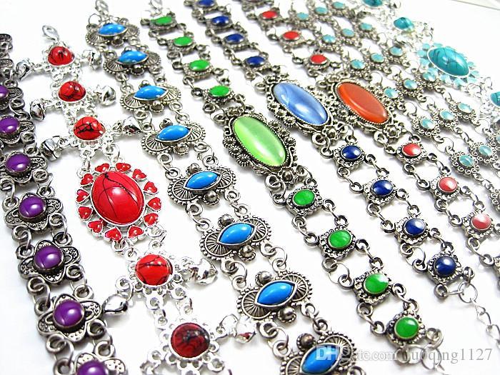 Оптовая смешанные партии 24 шт. женщин ретро старинные красивые эмали сплава металла цепи манжеты браслеты новый