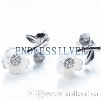 Stud Earring Settings Leaf White Shell Flower Design 925 Sterling Silver DIY Mountings Jewellery Findings for Pearl Party