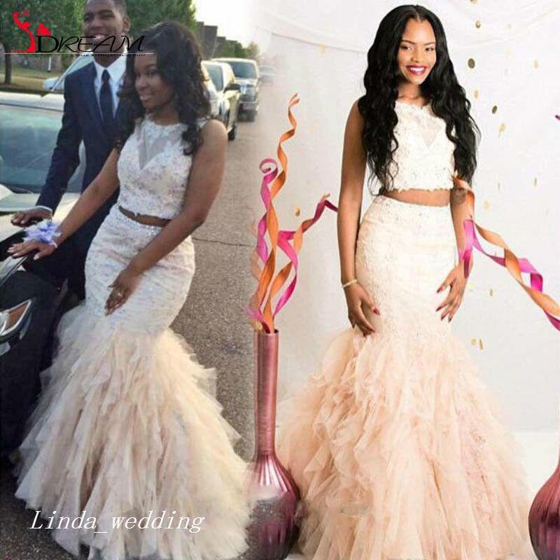 Beautiful Two Pieces Mermaid Prom Dress Cream Fuchsia Ruffle Backless Black Girls Women Wear Special Occasion Dress Evening Party Dress 2019