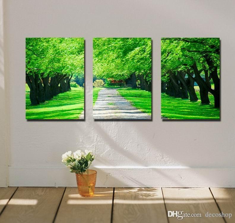현대 아름 다운 그린 스트리트 그림 캔버스에 Giclee 인쇄 홈 장식 벽 예술 Set30300
