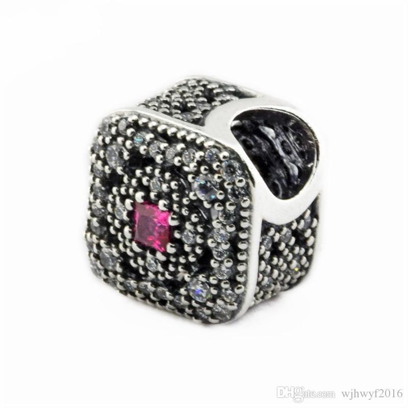 Authentic 925 Sterling-Silver-Jewelry Conto De Fadas Tesouro Encantos Grânulos Para DIY Marca de Cristal Quadrado Charm Bracelets Acessórios de Jóias