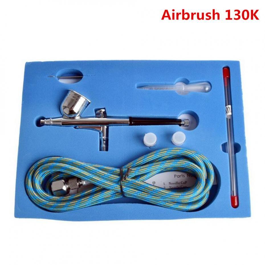 0,2 + 0,3 + 0,5 mm 7cc Dual-Action-Gravity Airbrush-Set 130K-Spritzpistole Nailkunst-Malerei-Pen-Kit Set kostenloser Versand