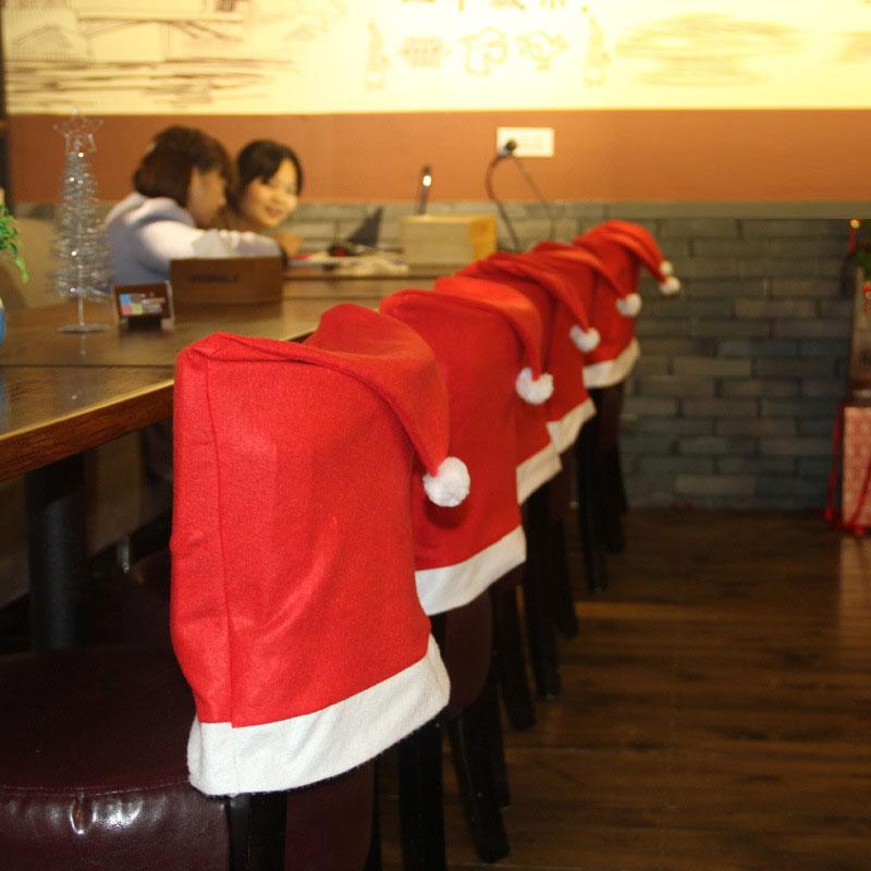 Christmas Hat Cartoon 4Pcs Christmas Chair Cover Christmas Decorations for Home Large Hat Hotel Table Decoration New Year