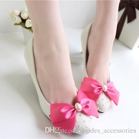 Ivory Beads Bow Wedding Shoes Pearl Handmade 2015 Bridal Shoes Cheap Custom Made Heel Height Flat Women Shoes for Wedding Bridesmaid Shoes