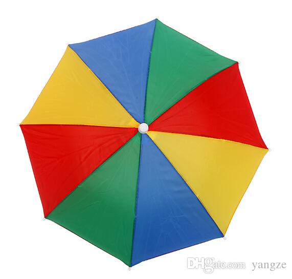 Factory Sale-4 Colors Rainbow Umbrella Hat Cap Sun Shade Camping Fishing Hiking Festivals Outdoor Brolly 5pcs