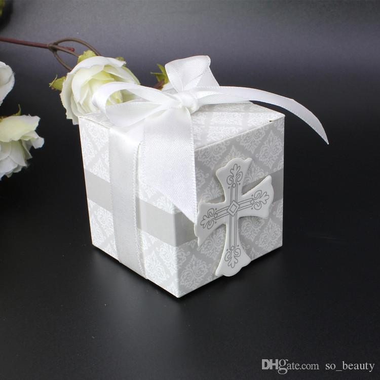 100 pcs Jesus Christian Cruz Caixinhas Caixas De Fita Fáovrs Christmas Anniversary Party Gift Box Frete Grátis