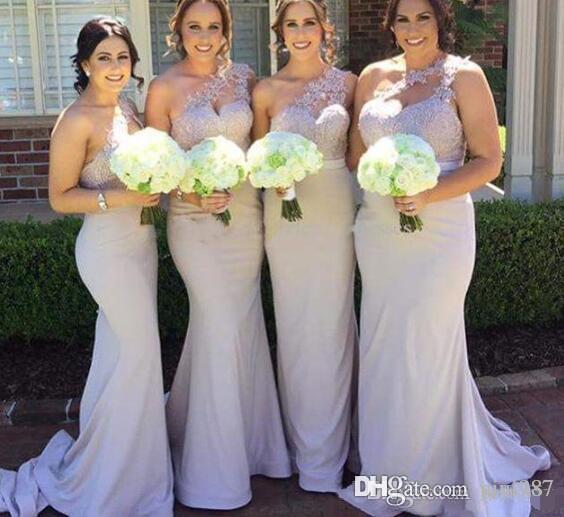 Lilla una spalla abiti da damigella d'onore sirena con appliques di pizzo Maid of Honor abiti da uomo formale Abiti da sposa abiti da sposa abiti personalizzati