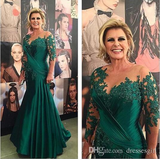 Yeşil Mermaid Sheer Uzun Kollu Anne Elbiseler Illusion Boyun Dantel Aplike Kat Uzunluk Tafta Anne Gelin Elbiseler