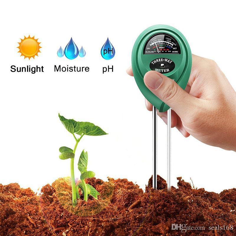 3 en 1 Medidor de Humedad del Suelo El suelo del probador de humedad / Herramienta sensor de luz / valor de pH del césped del jardín Tiesto disponibles HH7-179