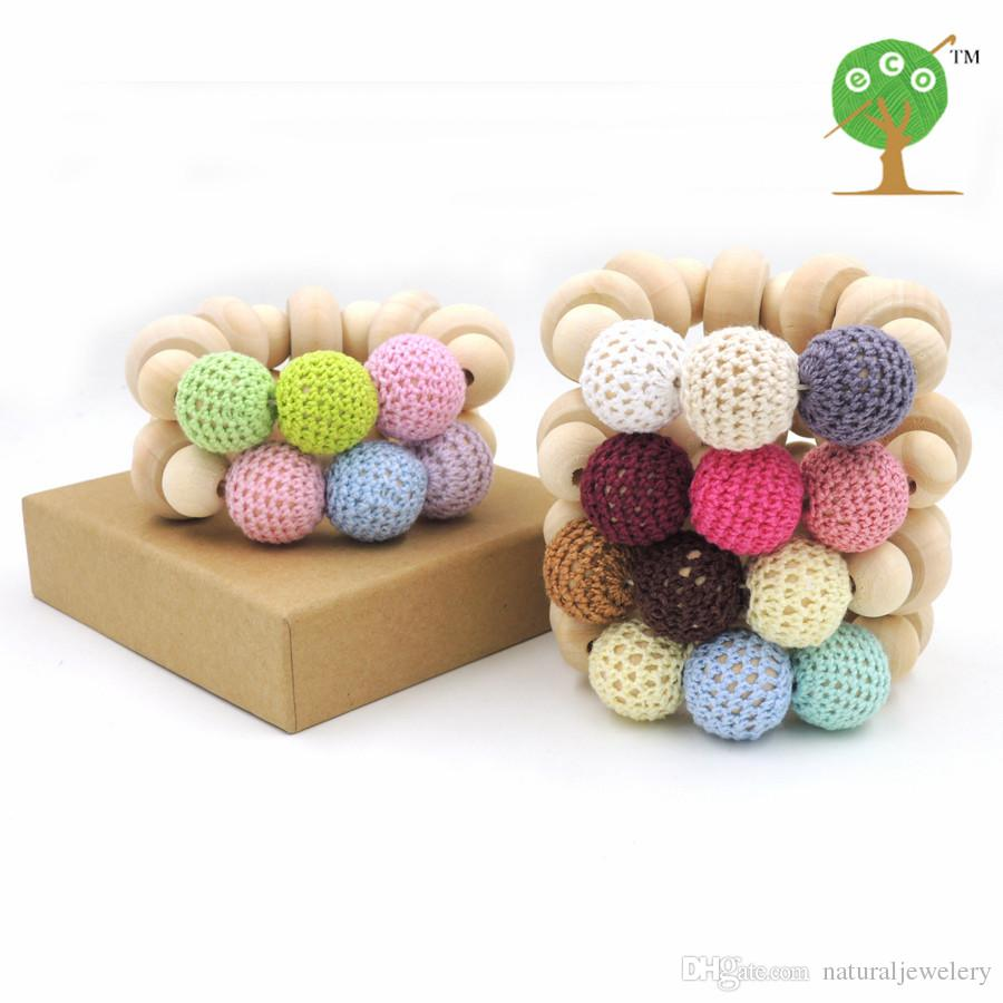 2016 Hot sale chunky Crochet nursing toy, natural wood beads baby crochet bead fade color 6 colors to choose donut NT105
