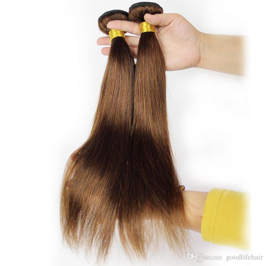 Brazilian Straight Brown Human Hair Weaves Color 4 Human Hair
