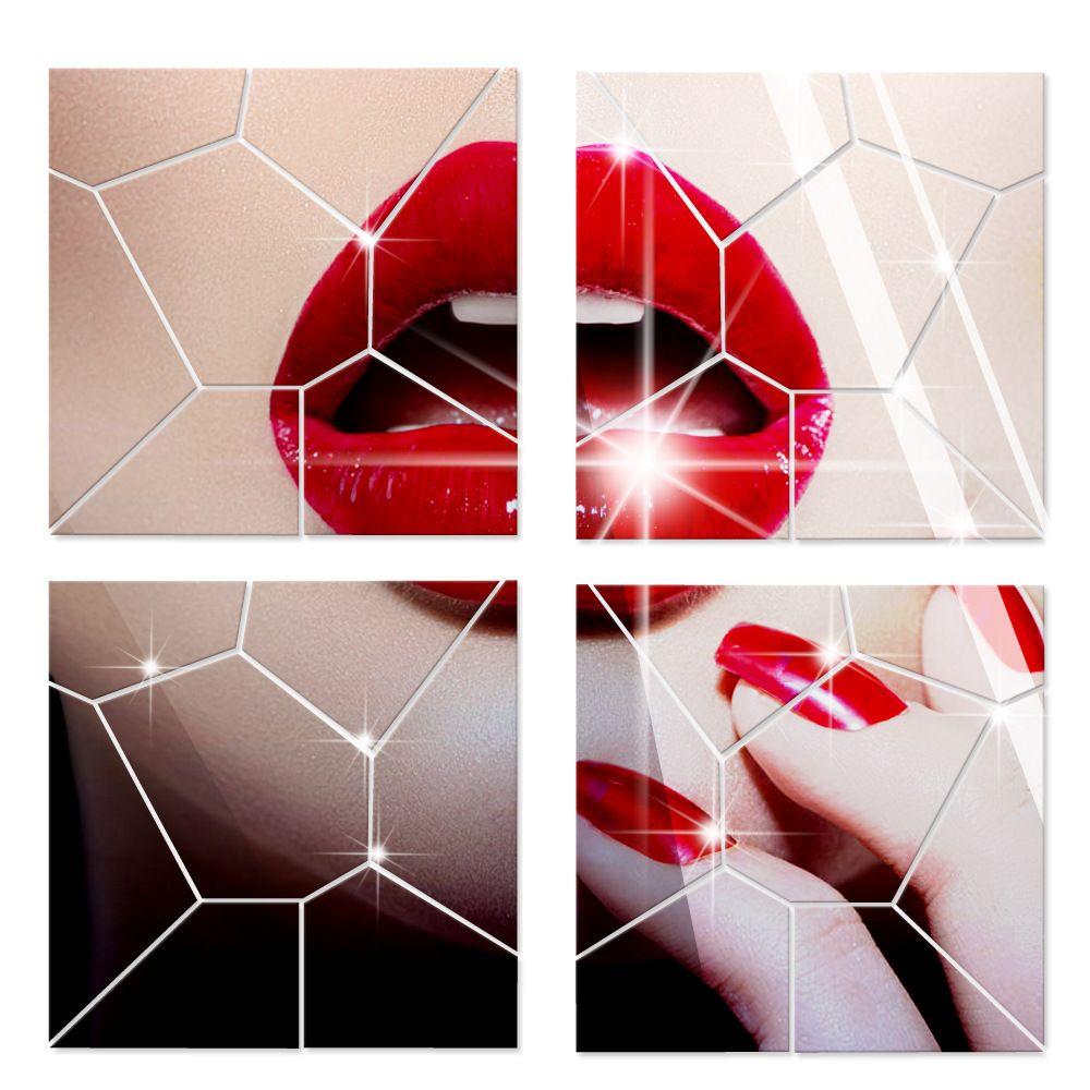 Geometría patrón 3D espejo de acrílico pegatinas de pared espejos decorativos para sala de estar arte de la pared calcomanía al por mayor