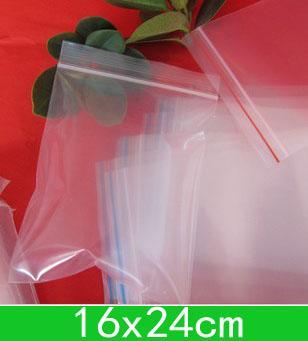 Nuovi sacchetti di polietilene risigillabile dei sacchetti trasparenti del PE (16x24cm), borsa della chiusura lampo per trasporto all'ingrosso + libero 100pcs / lot