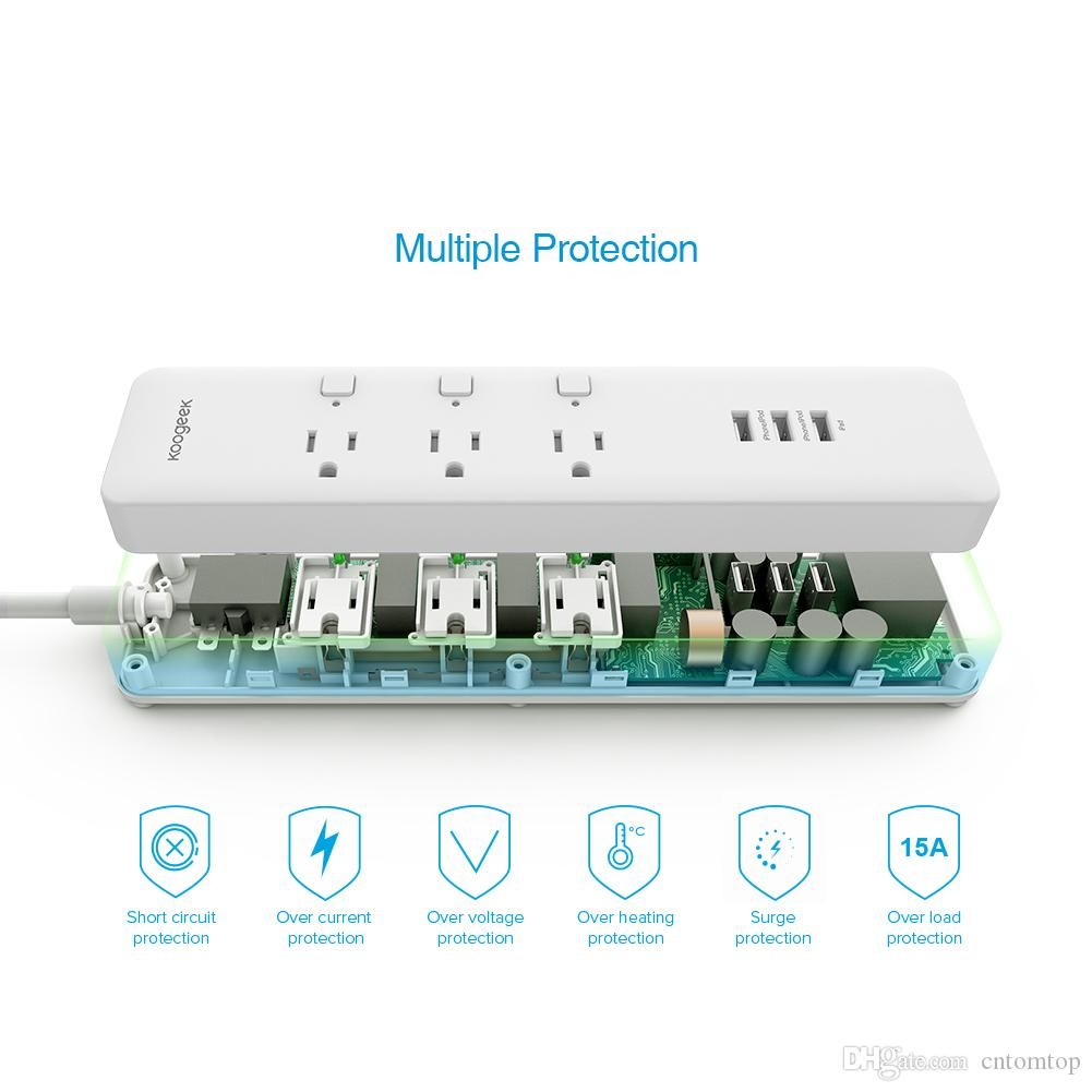 Koogeek Smart Surge Protector Wifi Power Strip 3 Outlets with 3 USB ...