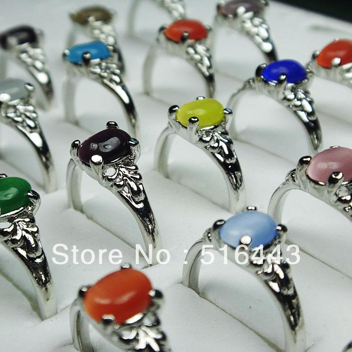 10pcs Mix Natural Cat eye Stones Alloy Silver Plated Fashion Rings Wholesale Jewelry Lots A-090